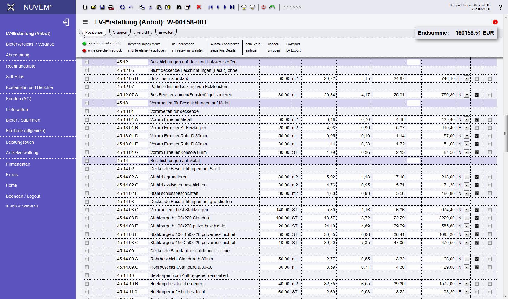 Software Für Ausschreibung Angebot Kalkulation Abrechnung Und
